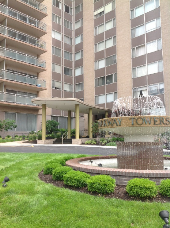 Our signature round fountain in front of the building.